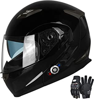 Motorcycle Bluetooth Helmets,FreedConn Flip up Dual Visors Full Face Helmet,Built-in..