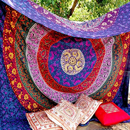 Craftozone Unique Indian Hippie Mandala Multi Color Tapestry by (210x140 CMS, Purple)