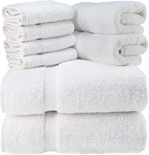 Luxury White Bath Towel Set – Combed Cotton Hotel Quality Absorbent 8 Piece Towels..