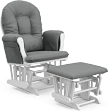 Storkcraft Premium Hoop Glider and Ottoman (White Base, Gray Cushion) – Padded Cushions..