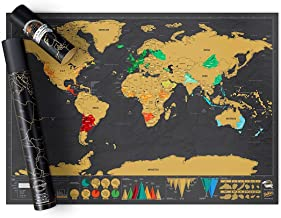 Scratch off Map World Poster Deluxe Edition – Personalized Scratchable Map of the..