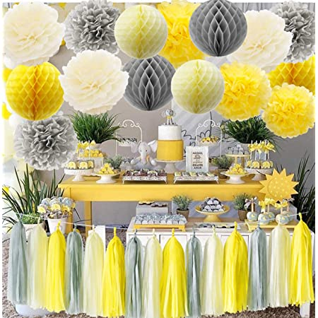 Amazon Com Furuix Yellow Grey Elephant Baby Shower Decorations Gray And Yellow Nursery Decor Honeycomb Balls Welcome Baby Banner Gender Neutral Baby Decor Yellow Gray Baby Shower Decorations Neutral Home Kitchen