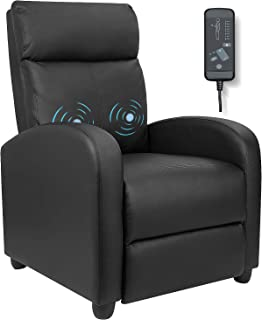 Furniwell Recliner Chair Massage Home Theater Seating Wing Back PU Leather Modern Single..