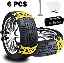Buyplus Snow Tire Chains for Cars – 6 Sets Adjustable Anti Slip Emergency Tire..