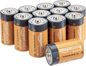 AmazonBasics D Cell 1.5 Volt Everyday Alkaline Batteries – Pack of 12 (Packaging may vary)