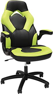 OFM Essentials Collection Racing Style Bonded Leather Gaming Chair, in Green (ESS-3085-GRN)