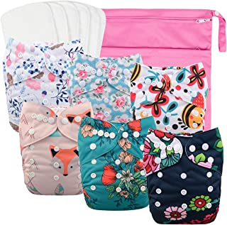babygoal Reusable Cloth Diapers for Girls, Adjustable Washable Nappy 6pcs+ 6pcs..
