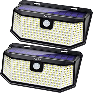 Aootek 182 Led Solar outdoor motion sensor lights upgraded Solar Panel to 15.3 in2 and 3..