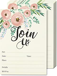 Watercolor Join Us Invitation Cards – 50 Fill-In Floral Classy Invites with..