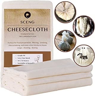Cheesecloth, Grade 90, 36 Sq Feet, Reusable, 100% Unbleached Cotton Fabric, Ultra Fine..