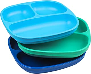 "Re-Play Made in USA 3pk – 7.37"" Divided Plates with Deep Sides for Baby,.."