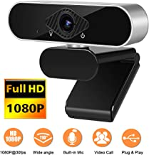 1080P Webcam with Microphone Full HD Computer Camera for PC Desktop with Wide Angle USB..