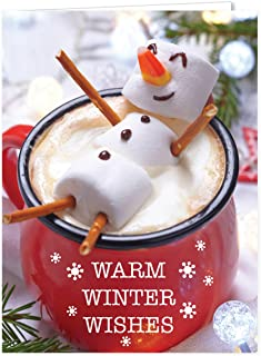 Cocoa Snowman Holiday Card Pack/Set of 25 Winter Wishes Cards/Hot Chocolate Marshmallows..