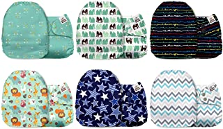Mama Koala One Size Baby Washable Reusable Pocket Cloth Diapers, 6 Pack with 6 One Size..