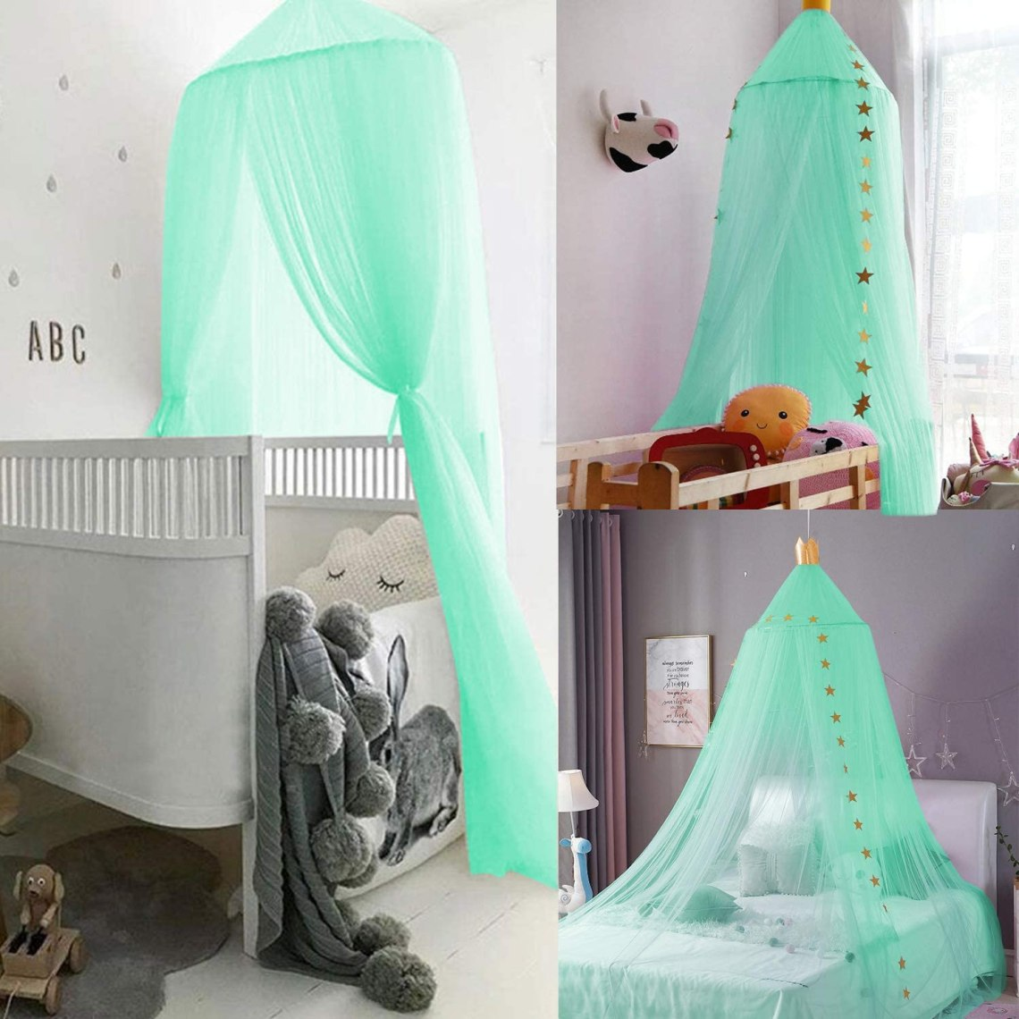 Buy Jolitac Princess Bed Canopy For Kids Room Decor Round Lace Mosquito Net Play Tent Baby House Canopys Yarn Girls Dome Netting Curtains Girls Games House Pink Castle Green Online In Indonesia