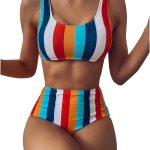 Women's Color Striped Bikini Push Halter Up Ranking TOP19 Tw Waist High 💥👩👩💥