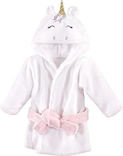 Hudson Baby Unisex Baby Plush Animal Face Bathrobe, Multicolor Unicorn, 0-9 Month