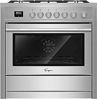 """Empava 36"""" Slide-In Freestanding Single Oven Ga with 5 Sealed Burner Cooktop in.."""