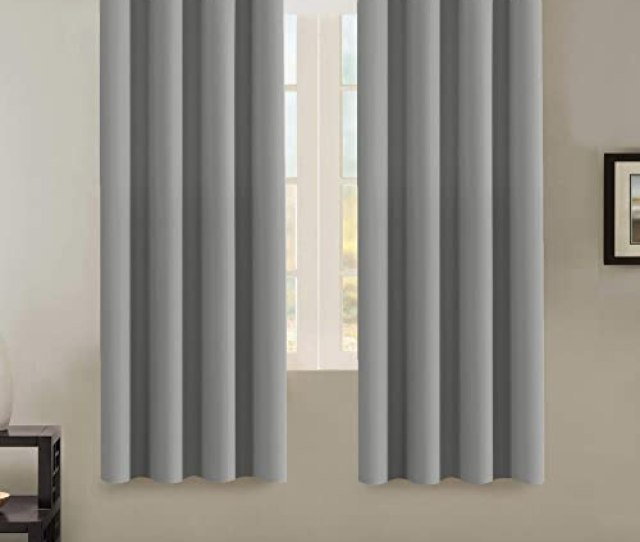 H Versailtex Insulated Thermal Blackout  Inch Long Grey Curtain Panels Pair Nickel
