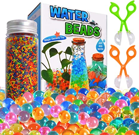Amazon Com Water Beads Kits Rainbow Mix 30 000 Beads Growing Balls Jelly Water Gel Beads For Spa Refill Kids Sensory Toys Vases Plant Wedding And Home Decor Updated Package With 2 Scoops