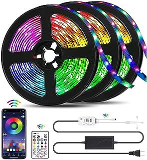 49.2FT LED Strip Lights, QZYL Lights Strip Music Sync, App Control with Remote, 5050 RGB..