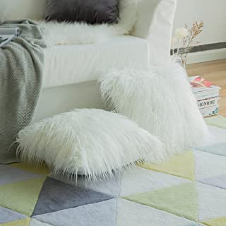MIULEE Pack of 2 Decorative New Luxury Series Style White Faux Fur Throw Pillow Case..