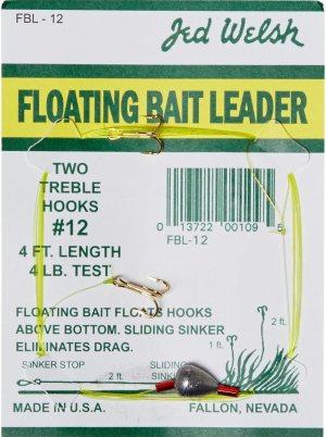 Jed Welsh Fishing 4 Pack Floating Bait Leader Size 12 & 14 Hooks Rigs