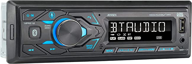 JENSEN MPR210 7 Character LCD Single DIN Car Stereo Receiver, Push to Talk Assistant,..