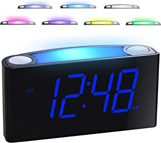 "Alarm Clock for Bedrooms – 7 Color Night Light,2 USB Chargers, 7"" Large LED.."