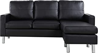 Modern Bonded Leather Sectional Sofa – Small Space Configurable Couch – Black
