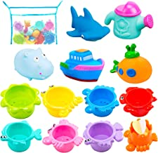 INNOCHEER Bath Toys and Stacking Cups for Toddlers with Quick Dry Organizer Net-13 Pcs..