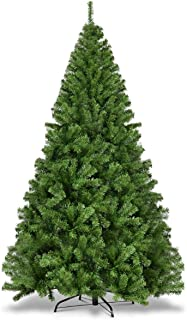 Goplus 7.5ft Artificial Christmas Tree, Unlit Premium Hinged Spruce Xmas Tree with Solid..