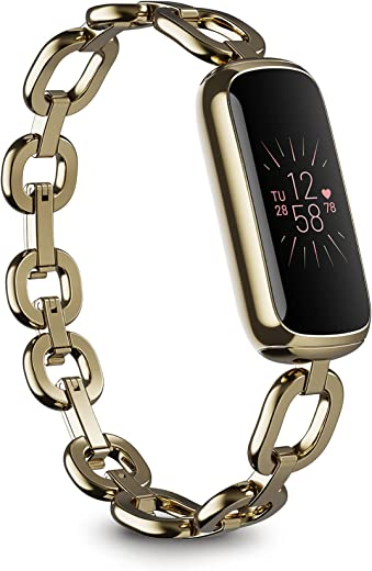 Fitbit Luxe Special Edition Fitness and Wellness Tracker, Gorjana Soft Gold Stainless Steel Parker Link Bracelet, One Size (S & L Peony Classic Bands Included)