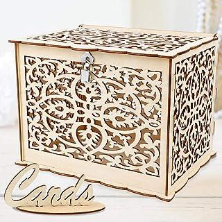 OurWarm DIY Wedding Card Box with Lock Rustic Wood Card Box Gift Card Holder Card Box..