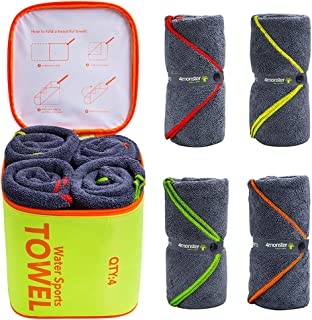 4Monster 4 Pack Microfiber Bath Towel Camping Towel Swimming Towel Sports Towel with..