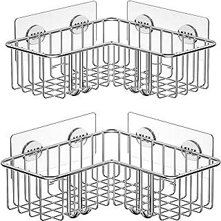 SMARTAKE 2-Pack Corner Shower Caddy, Adhesive Bath Shelf with Hooks, SUS304 Stainless..