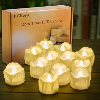Battery Operated Timer Candles, PChero 12 Packs LED Flameless Votive Tea Lights Candle..