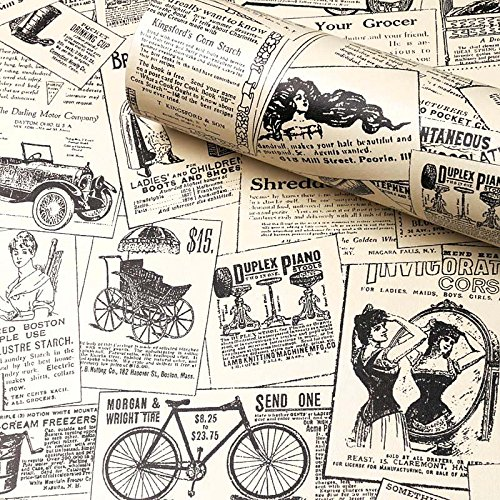"""Newspaper Wallpaper Self Adhesive, H2MTOOL Removable Peel and Stick Wallpaper Vintage (17.7"""" x 78.7"""",..."""