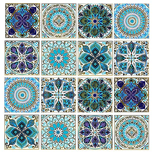 Leyu Mandala Decorative Tile Stickers Set 16 Units 6x6 Inch Peel and...