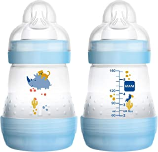 MAM Easy Start Anti-Colic Bottle 5 oz (2-Count), Baby Essentials, Slow Flow Bottles with..