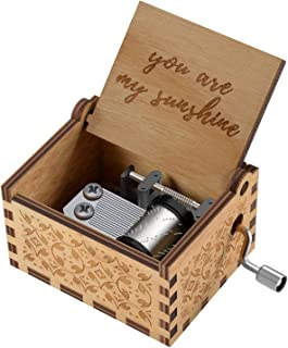 You are My Sunshine Wood Music Boxes,Laser Engraved Vintage Wooden Sunshine Musical Box Gifts for Birthday/Christmas/Valentine's Day (Wood)