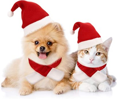 Amazon.com : Syhood 4 Pieces Cat Christmas Hat with Muffler Puppy Dog Santa  Hat Head Wear Accessories Christmas Costume Outfits for Pet Dog Cat Rabbit,  Red : Pet Supplies