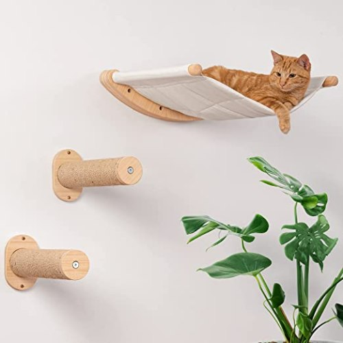 Wall Mounted Cat Hammock with Two Steps