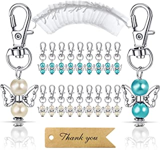 MOVINPE 20pcs Angel Favor Keychains Plus Organza Bags Plus Thank You Kraft Tags, Guest..