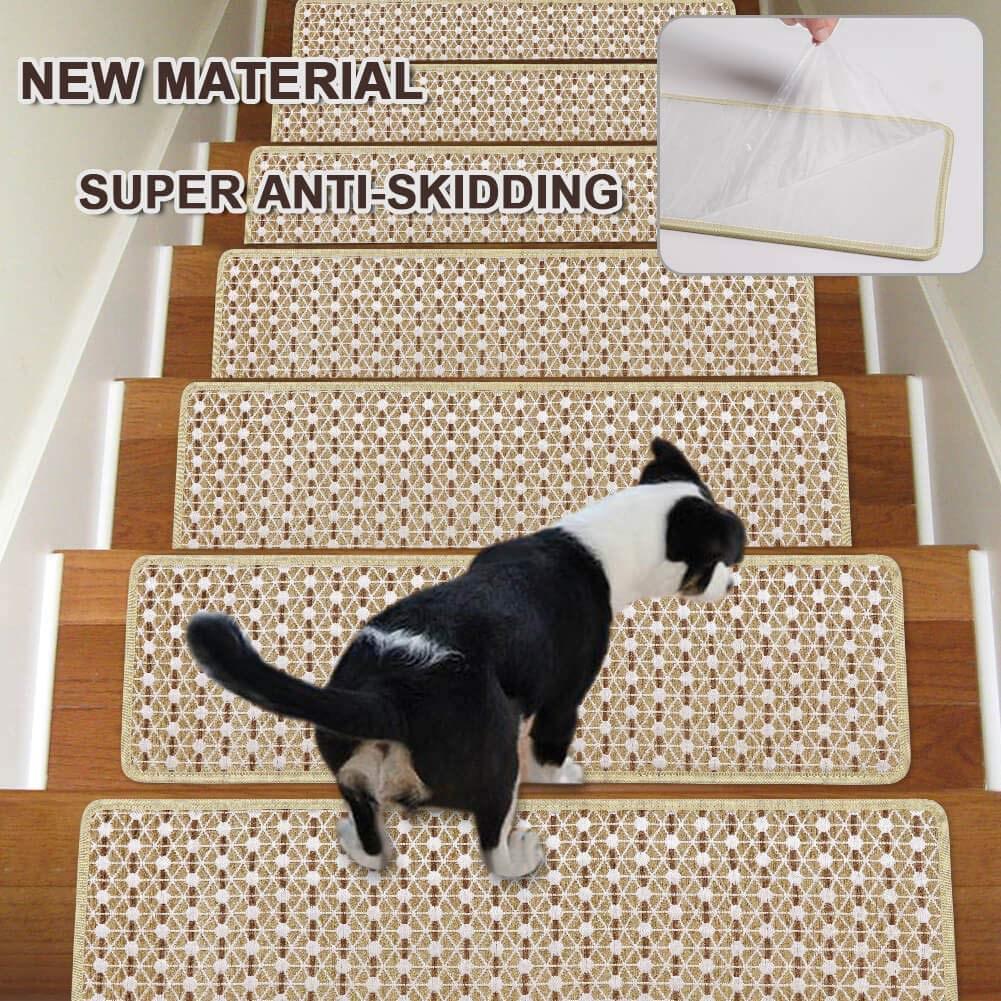 Stair Treads Non Slip Carpet Indoor Set Of 13 Beige Carpet Stair   Non Skid Carpet Stair Treads   Stair Runner   Bullnose Carpet   Flooring   Adhesive   Amazon