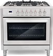 Cosmo F965 36 in. Dual Fuel Gas Range with 5 Sealed Burners, Convection Oven with 3.8 cu...