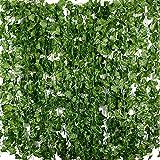 BETESSIN 24pcs*2m Lierre Plante Artificielle Exterieur Faux Lierre Feuillage Artificiel Feuille Guirlande Décoration Interieur pour Mariage Balcon Cuisine Jardin Bureau