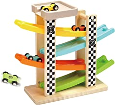 TOP BRIGHT Toddler Toys For 1 2 Year Old Boy And Girl Gifts Wooden Race Track Car Ramp..