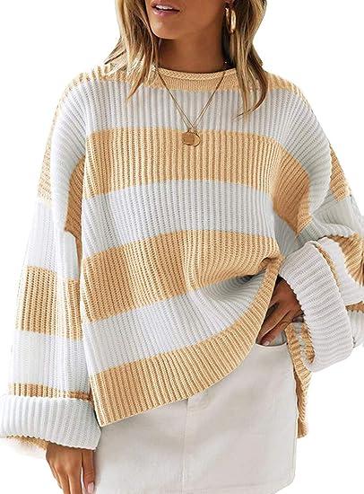yellow stripes loose oversized fashionable sweater