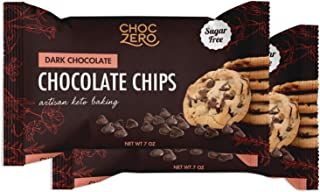 ChocZero's Dark Chocolate Chips - Sugar Free, Low Carb, Keto Friendly (2Bag, 14oz)
